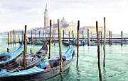 Watercolor Framed Prints - Italy Venice Gondolas Parked Framed Print by Yuriy Shevchuk