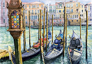 Watercolor Framed Prints - Italy Venice Lamp Framed Print by Yuriy Shevchuk