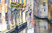 Watercolor Metal Prints - Italy Venice Midday Metal Print by Yuriy Shevchuk