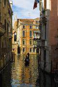 Gondolier Framed Prints - Italy, Venice, Rowing Gondola Framed Print by Richard Desmarais