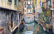 Canal Paintings - Italy Venice Trattoria Sempione by Yuriy Shevchuk