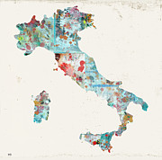 Watercolor Map Mixed Media - Italy Watercolour Map by Brian Buckley