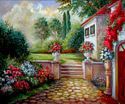 European  With Villa And Garden Paintings - Italyan Villa with garden  by Gina Femrite