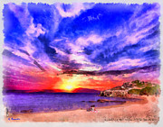 Fantasy Paintings - Itanos sunset by George Rossidis