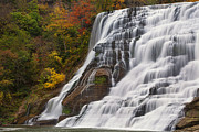 Slate Pattern Posters - Ithaca Falls in Autumn Poster by Michele Steffey