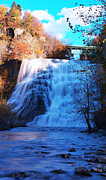 White River Scene Framed Prints - Ithaca water falls New York Panoramic photography Framed Print by Paul Ge