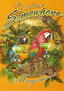 Parrot Mixed Media Prints - Its 5 OClock Somewhere Print by Claudette Armstrong