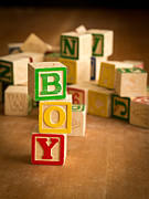 Wooden Blocks Framed Prints - Its A Boy Framed Print by Edward Fielding
