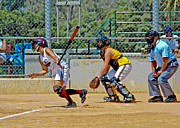 Softball Painting Posters - Its a Double Poster by Ken Guinn