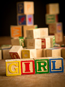 Announcement Prints - Its a Girl - Alphabet Blocks Print by Edward Fielding