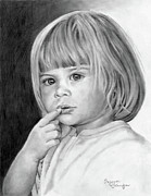 Little Girl Drawings Prints - Its A Secret Print by Suzanne Schaefer