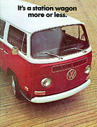Vw Camper Van Framed Prints - Its a station wagon more or less - VW Camper ad Framed Print by Nomad Art And  Design