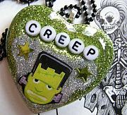 Science Fiction Jewelry - ITs ALIVE - Frankenstein The Glow In The Dark CREEP by Razz Ace