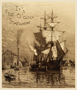 Historic Schooner Prints - Its Five Oclock Somewhere Schooner Print by John Stephens