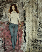 Folk Art Mixed Media - Its Her Beauty Abstract Mixed Media Collage  by Janelle Nichol
