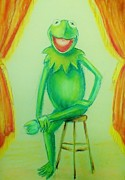 Amphibians Pastels - Its Not Easy Being Green by Denise Fulmer