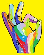 Hand Signs Mixed Media Posters - Its OK Poster by Eloise Schneider