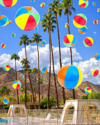 Raining Posters - ITS RAINING BEACH BALLS Palm Springs Poster by William Dey