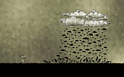 Rain Cloud Posters - Its Raining Umbrellas Poster by Sanely Great