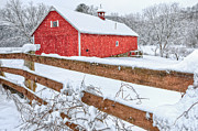 Red Barns Photo Prints - Its Snowing Print by Bill  Wakeley