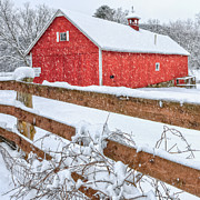 Red Barn. New England Prints - Its Snowing Square Print by Bill  Wakeley