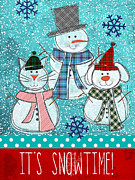 Kitty Mixed Media Prints - Its Snowtime Print by Linda Woods