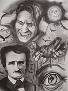 Edgar Drawings - Its the beating of that hideous heart-edgar allan poe by Amber Stanford