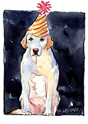 Yellow Labrador Retriever Paintings - Its Your Birthday by Molly Poole