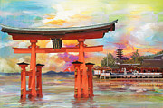 Temples Painting Posters - Itsukushima Shrine Poster by Catf