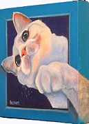 Cat Greeting Card Posters - Ive Been Framed Side View Poster by Susan A Becker