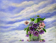 Catherine White Painting Metal Prints - Ive Looked at Clouds Metal Print by Catherine Howard