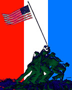 World Wars Posters - Iwo Jima 20130210 Red White Blue Poster by Wingsdomain Art and Photography