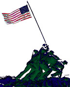 Flag Of Usa Prints - Iwo Jima 20130210-white Print by Wingsdomain Art and Photography
