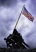 Bravery Digital Art Posters - IWO JIMA Memorial  Poster by Nadine and Bob Johnston