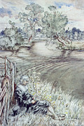 Rural Landscapes Drawings - Izaak Walton reclining against a Fence by Arthur Rackham