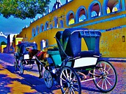 Carriages Posters - Izamal carriage rides Poster by Monica Moran