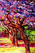 Impressionistic Paintings - Jacaranda Lane by Michael Durst