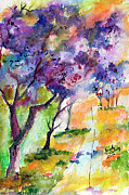 Ginette Fine Art LLC Ginette Callaway - Jacaranda Trees Watercolor and Ink by Ginette