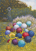 Orbs Paintings - Jacintas Garden by Deborah Irish