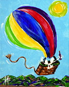 Beer Festival Painting Posters - Jack and Charlie Fly Away Poster by Jackie Carpenter