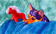 Toy Animals Prints - Jack and Red Horse Print by Ann Ranlett