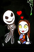 Nightmare Before Christmas Painting Prints - Jack and Sally 2 Print by Marisela Mungia