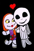 Nightmare Before Christmas Painting Prints - Jack and Sally Print by Marisela Mungia