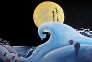 Tim Burton Prints - Jack and Sally Snowy Hill Print by Marisela Mungia
