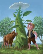 Kids Room Art Metal Prints - Jack And The Beanstalk Metal Print by Martin Davey
