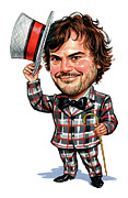 Caricature Paintings - Jack Black by Art