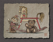Jack-in-the-box Prints - Jack In The Box Rocking Horse And Teddy Bear Print by Richard Neuman