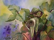 In Earth Tones Paintings - Jack in the Pulpit by Johanna Axelrod