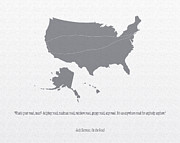 U.s.a. Digital Art Posters - Jack Kerouac Quote  USA map Poster by Philip Sweeck