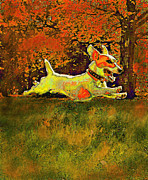 Puppy Digital Art Metal Prints - Jack Russell In Autumn Metal Print by Jane Schnetlage